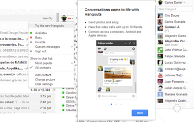 Gmail chat login page