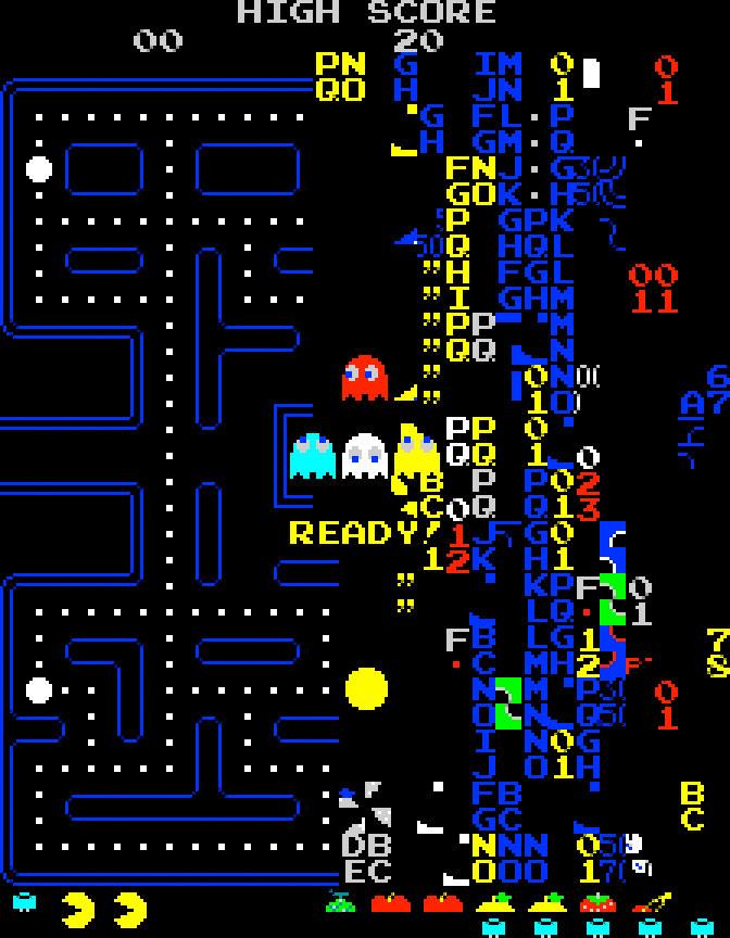 La pantalla de la muerte que aparecía al llegar al nivel 256 de Pac Man