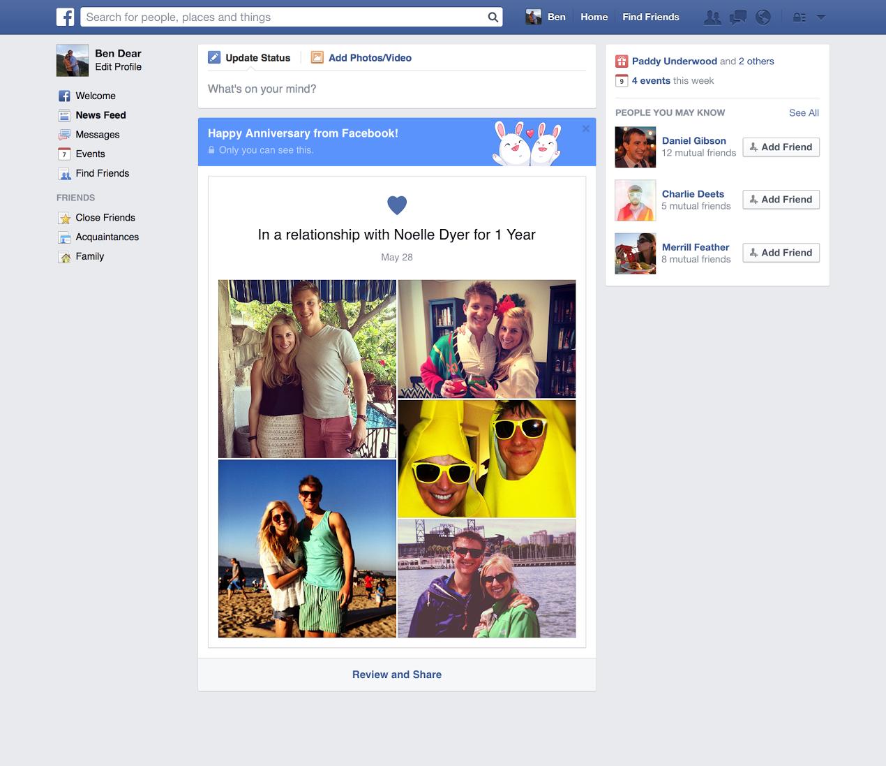 Facebook crea una nueva historia de aniversario para los for En una relacion con facebook