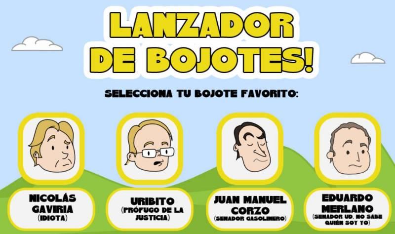 lanzador de bojotes, juego con politicos colombianos