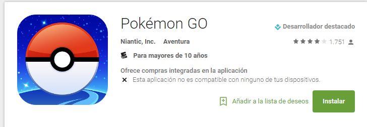 Aviso de Pokemon Go no disponible en ciertos países