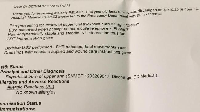 Copia del informe del hospital. Tomada de news.com.au