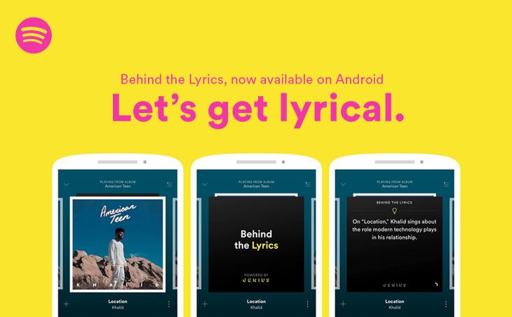 Spotify mostrará la historia tras la letra de las canciones en Android